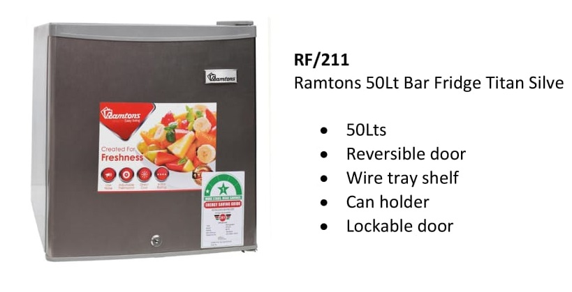 Ramtons 50Lt Bar Fridge Titan Silver