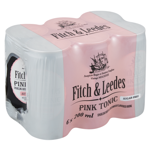 Fitch And Leedes Pink Tonic Sugar Free 200Ml 6 Pack